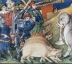 15th century manuscript illustration of pigs menacing elephants in battle, MS BL Royal 20 BXX, folio 57r.