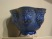 An Iranian bowl from the first centuries of fritware. Its cobalt glaze emulates lapis blue, while its light base is also visible.